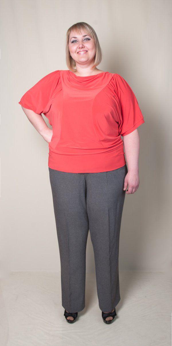 Блуза женская (короткий рукав). Цвет коралловый. Размеры: 52, 54, 56, 58, 60.