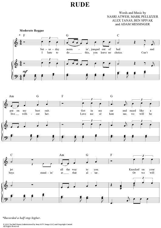 """Rude"" Magic! Sheet Music: www.onlinesheetmusic.com"