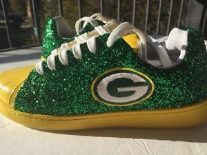 Womens Green Bay Packers Green Yellow Glitter Custom Tennis Shoes JCo.Customs   | eBay