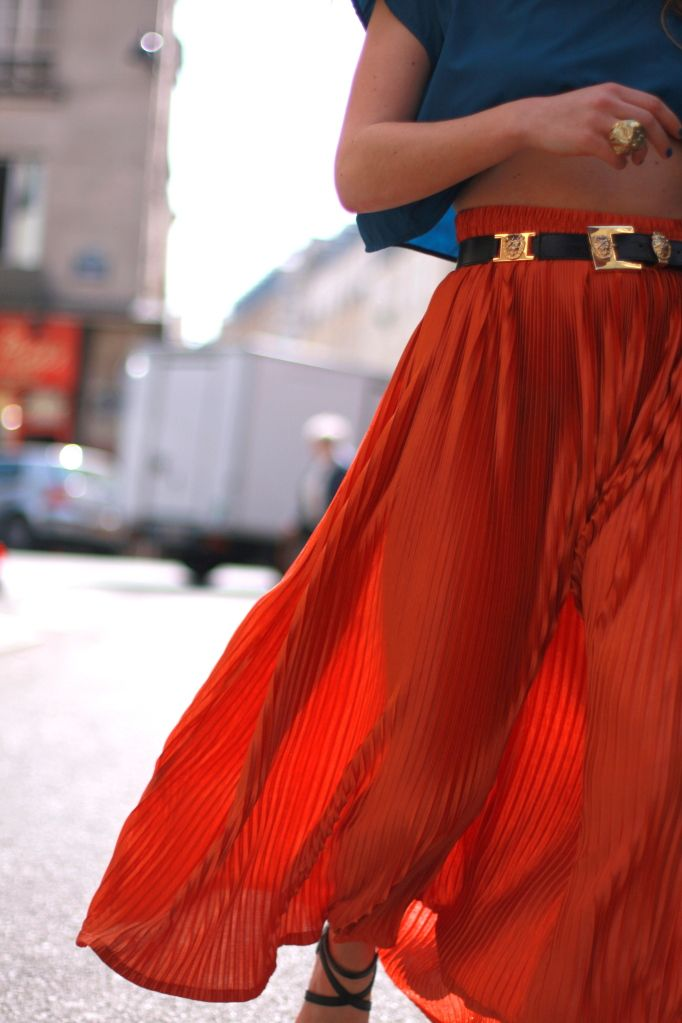 red skirt and blue blouse