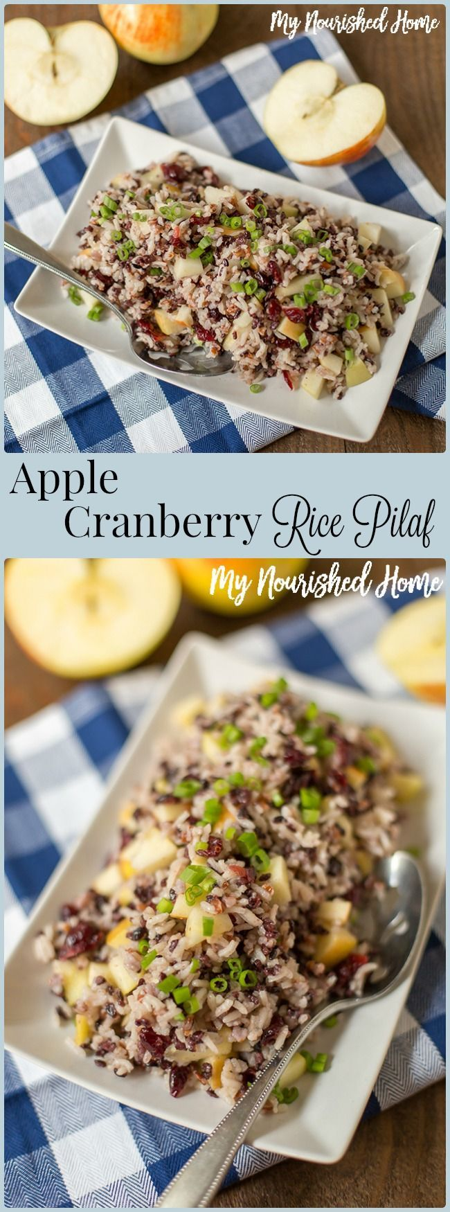 Apple Cranberry Rice Pilaf is a delicious, seasonal side. Both sweet and tart, it goes great with chicken, fish, and pork.