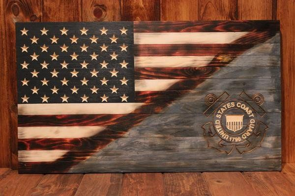 United States Coast Guard flag with half Americana Flag is an awesome way to show your patriotism. This flag has the coast guard emblem routed out of the wood t