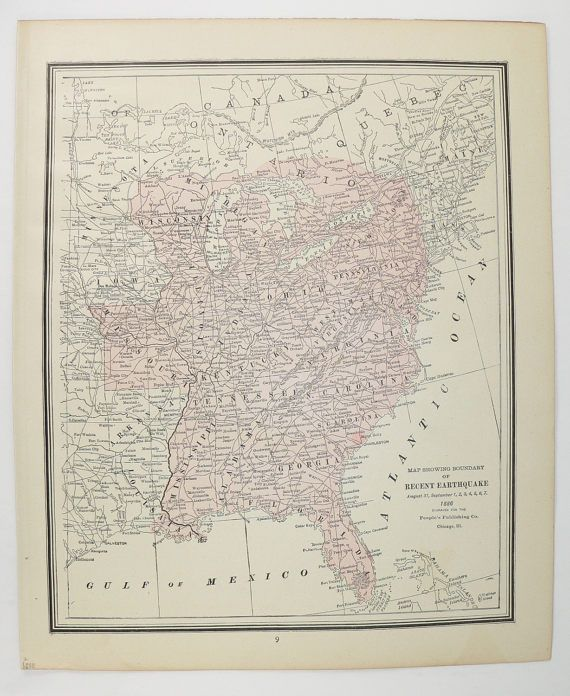 1888 United States Map Antique Us Map Of 1886 Earthquake Map Us East Coast Map Vintage Color Print Solar System Print Astronomy Art