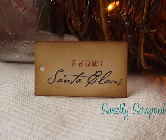 From Santa Claus Christmas Gift Tags by SweetlyScrappedArt on Etsy, $3.75