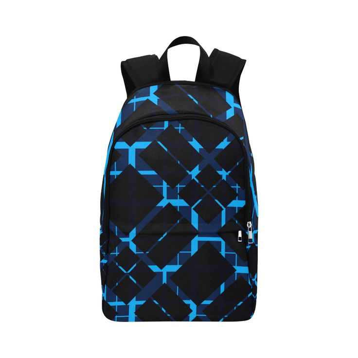Diagonal Blue & Black Plaid Hipster Style Fabric Backpack for Adult by Scar Design #modern #backpack #modernbackpack #buybackpack #giftsforhim #giftsforher #coolbackpack #artsadd #scardesign