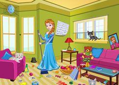 JuegosElsa.com - Juego: Limpieza Casa Elsa - Minijuegos de la Princesa Elsa Frozen Disney Jugar Gratis Online