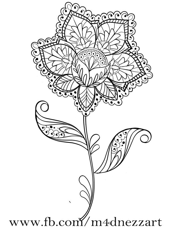 www.fb.com/m4dnezzart  flower tattoo idea  #tattoo #design #tattoos #lineart #mandala #flower #blume #idea #digital #drawing