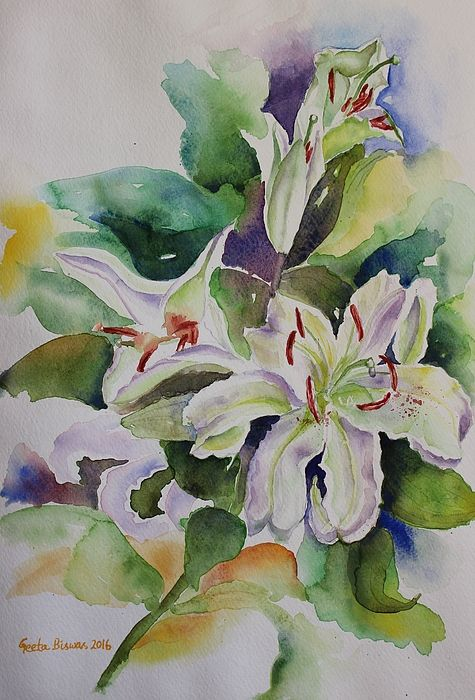 White lilies still life in watercolor #white #lilies #lily #watercolor #madonna #lily #white #flowers #floral #contemporary #art #original #painting #stilllife  #price27usd #art #print