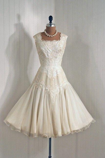 Gorgeous vintage dress... love the shoulder/neckline.. need length.. past knee i think