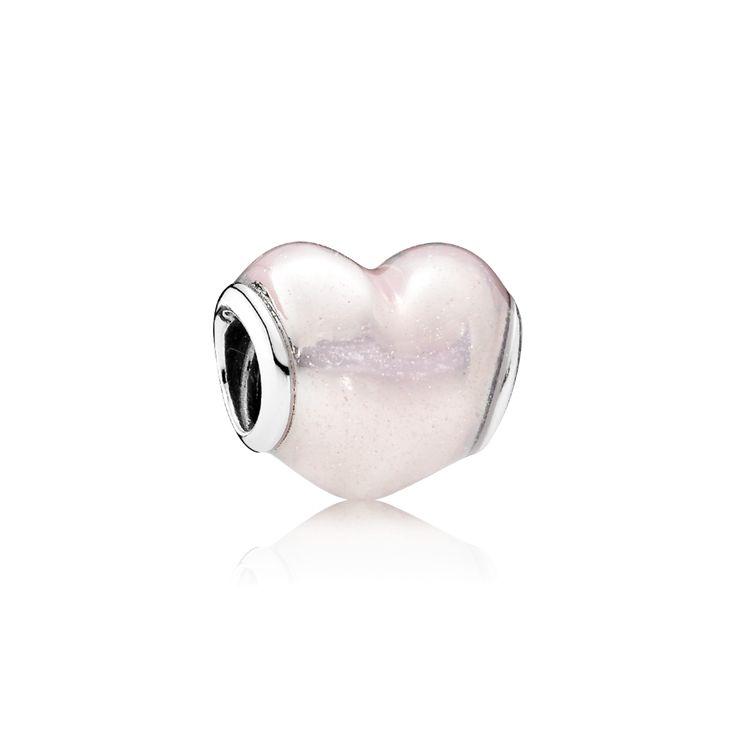 PANDORA   Glittering Heart, Soft Pink Enamel