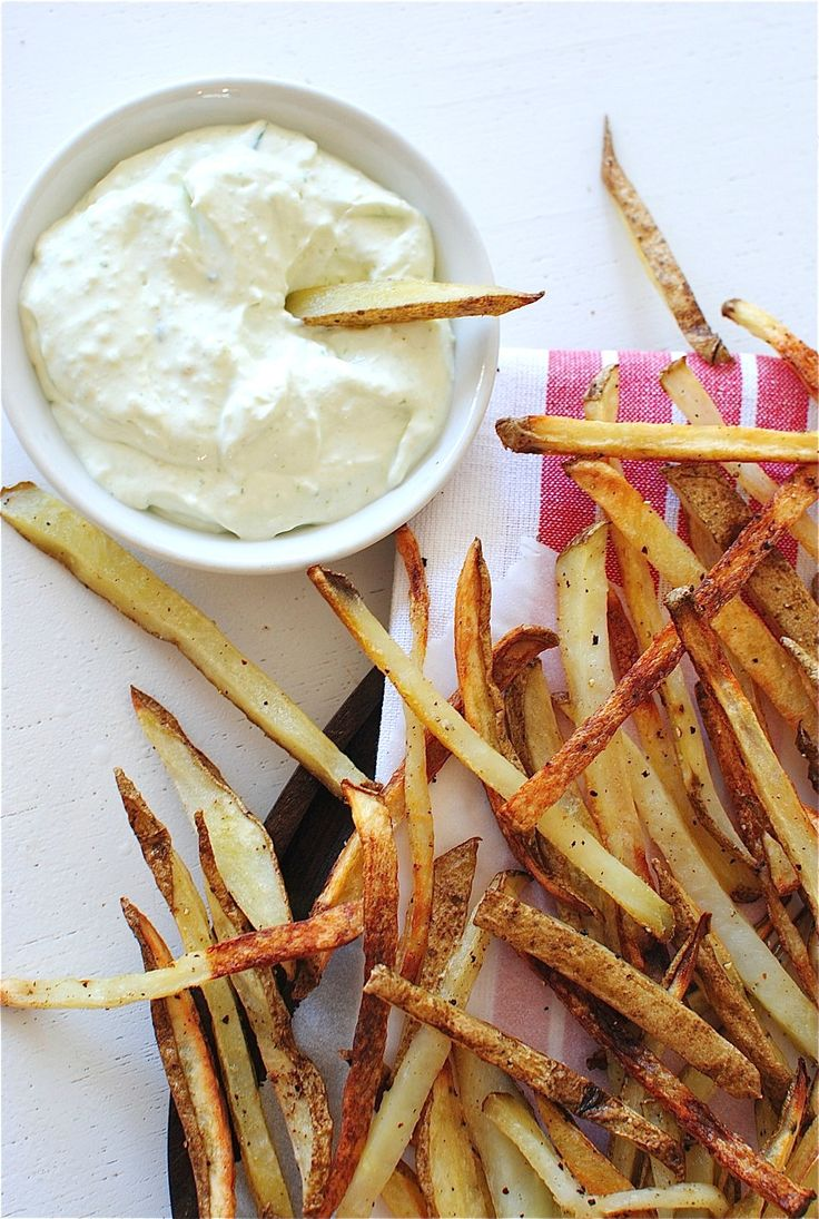 Baked French Fries with a Roasted Garlic Parmesan Dipping Sauce / Bev Cooks