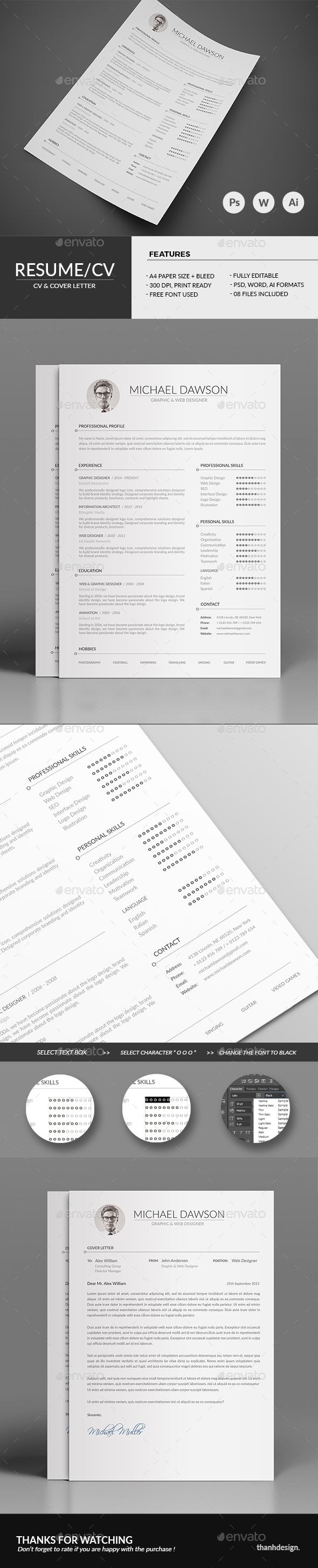 Resume CV & Cover Letter — Photoshop PSD #resume design #professional • Available here → https://graphicriver.net/item/resume-cv-cover-letter/13449677?ref=pxcr