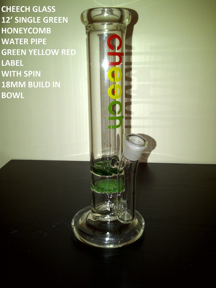 12' SINGLE GREEN HONEYCOMB WATER PIPE  YELLOW GREEN LABEL WITH SPIN 18MM BUILD IN BOWL