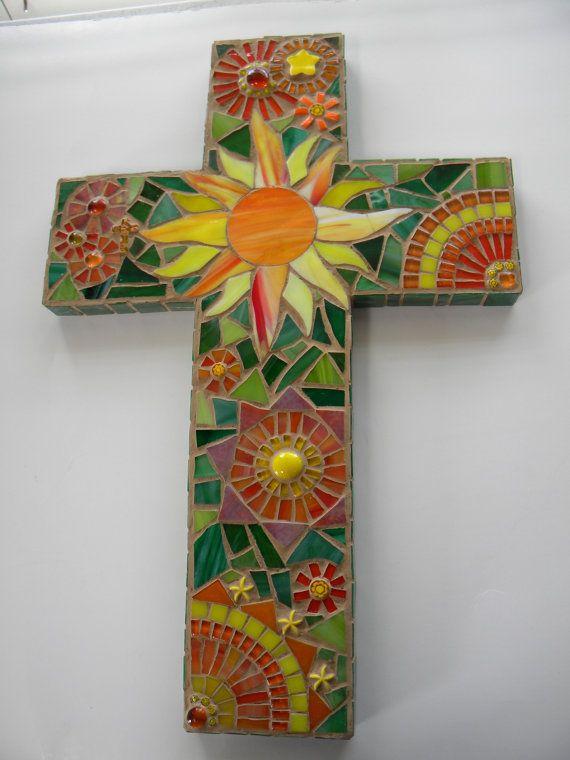 Sunburst Mosaic Cross - Original Art