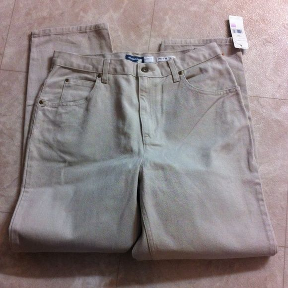 Liz Claiborne Classic Tan Jeans 12S Classic fit. Sits on waist. Curved hip. Tapered leg. They are short. Liz Claiborne Jeans