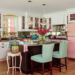"So in a flurry of color and eclectic flair, Chaplow gave each room in the home its own unique palette—yellow for the great room, lavender and green in the bedrooms, and pops of vintage pink in the completely remodeled kitchen. ""It's become an exciting cha"