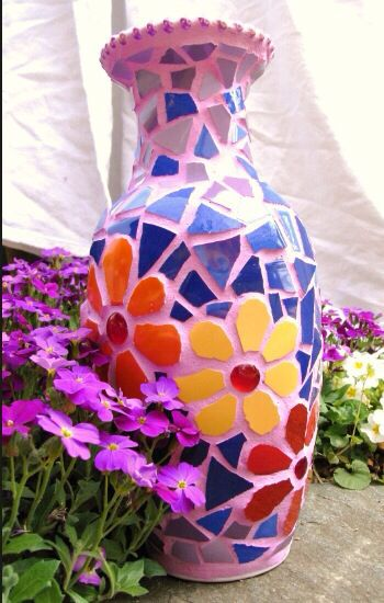 Tile & beads mosaic vase