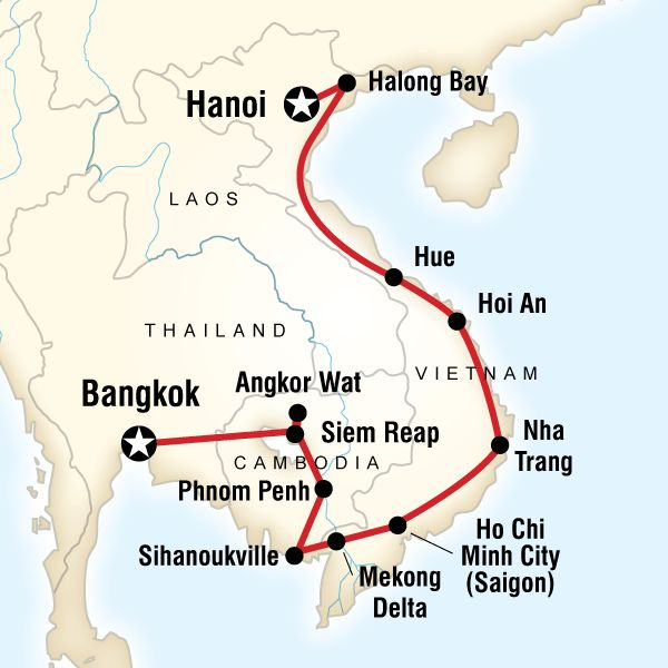 Bangkok --> Cambodia --> Vietnam Map of the route for ...