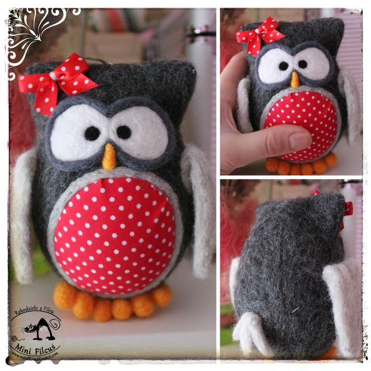 Owl - Felted on Styrofoam egg  http://minifilcus.blogspot.com/2014/02/sowia-wymiana.html
