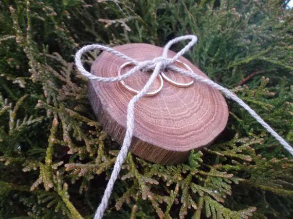 Wood Wedding Ring Bearer Slice Rustic Wooden Ring Holder