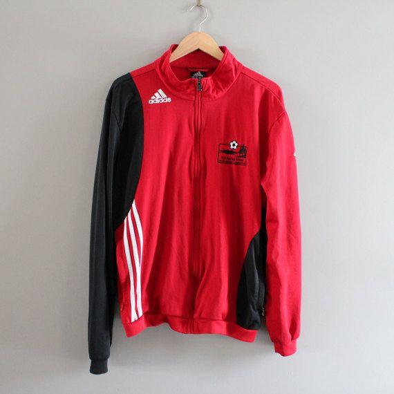 Red Adidas Jacket logo Adidas Jersey Jacket Training by Amilialia