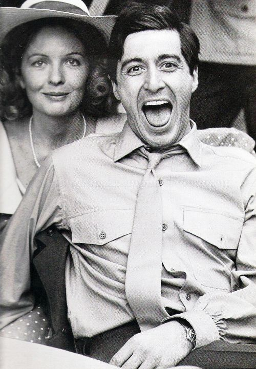 al pacino and diane keaton on the set of the godfather