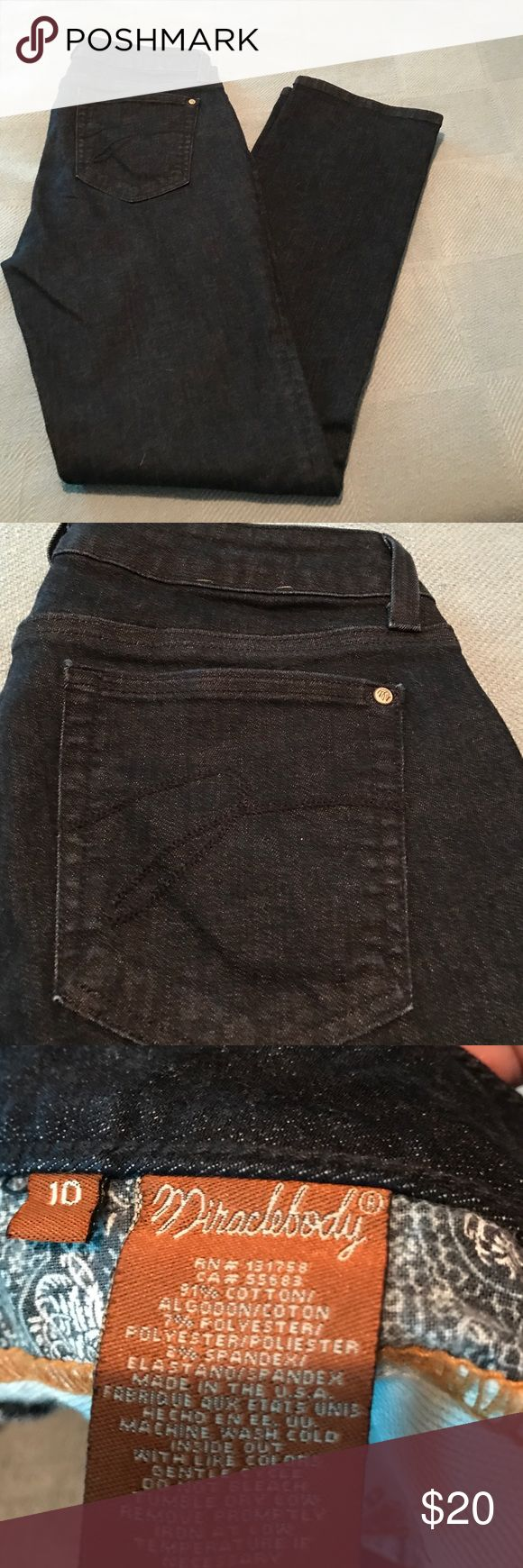 Miraclebody jeans in great condition Dark blue soft jean material never worn. Not Michael Korrs just placed here for exposure. Size 10 Michael Kors Jeans Straight Leg