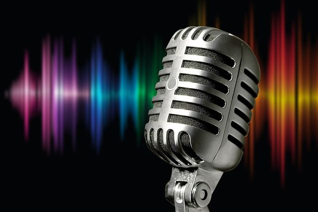 Mikrofon, Mikrophon, Silber, Metall, Schallwellen, Bunt