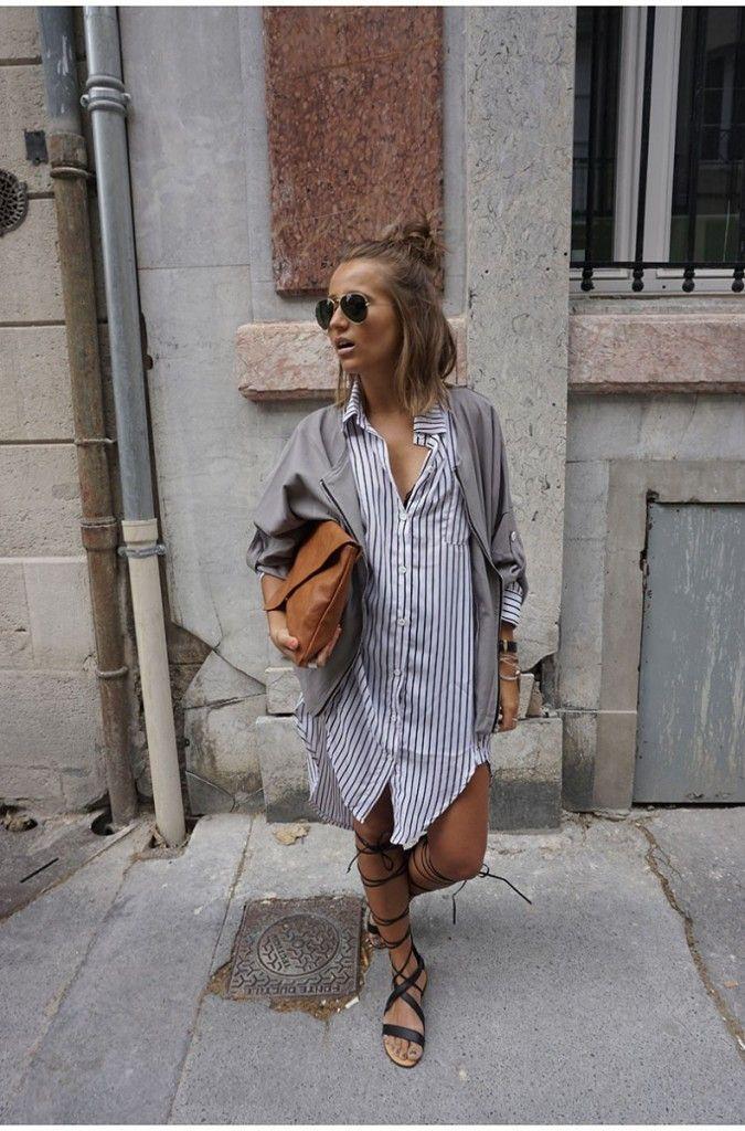Robe chemise ( Zara \ H&M ) + gilet gris souris + spartiate montante ( les tropezienne)