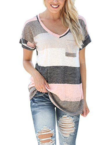 SmallDragon Women's V-neck Summer Casual Short Sleeve Top Tee Blouse T-shirt (Medium, Pink) Special Offer: $12.99 411 Reviews Please kindly check the picture for the size detail or the product description before you buy it Size: Small: Bust 39.37″, Clothing Length...