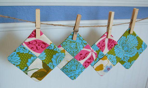 SALE Save 30% - Subic Bay Damask Fabric Coasters