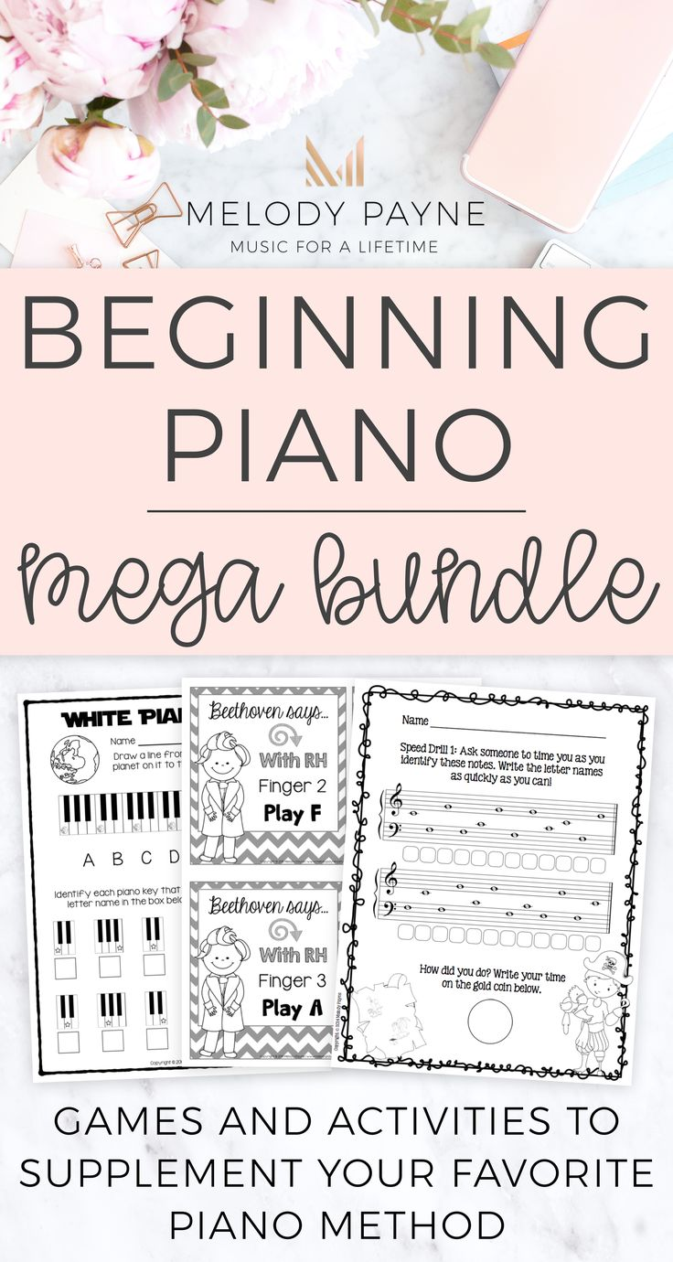 Give your youngest piano beginners a solid foundation from the very beginning of piano lessons with worksheets, games, activities, printables, and other supplementary materials made just for pre-K, kindergarten, and 1st & 2nd grade music students! Perfect for private music lessons, elementary music classroom, music camp, and group piano class. Includes finger numbers and hands, piano keys, music symbols, rhythm and beat, improvisation, memory, practicing, sight-reading, note identification.