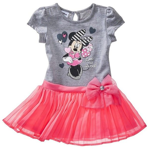 Disney Infant Toddler Girls' Minnie Dress Pink ($12) ❤ liked on Polyvore featuring baby, baby clothes, kids, baby stuff and baby girl clothes