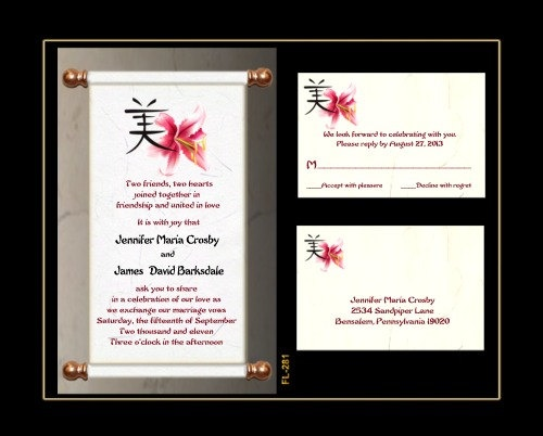 50 scroll wedding invitation set asian fl281 28750 for Chinese wedding invitations etsy