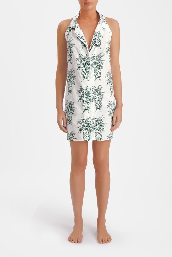 Howie Pineapple Print Luxury Cotton Womens Nightie - White Desmond & Dempsey