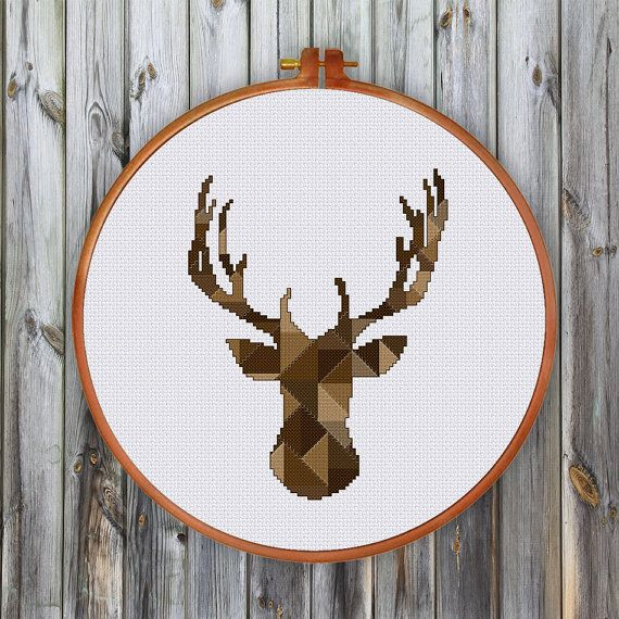 Geometric Deer Head cross stitch pattern Modern by ThuHaDesign