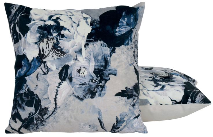 Blue and white floral pillow, Jean Paul Gaultier. http://www.facebook.com/kenisa.home
