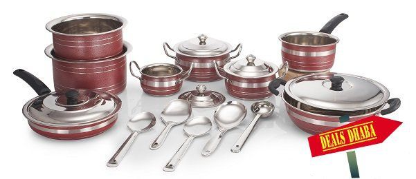 18 Pc HTR Coated Cookware Set for 810 INR