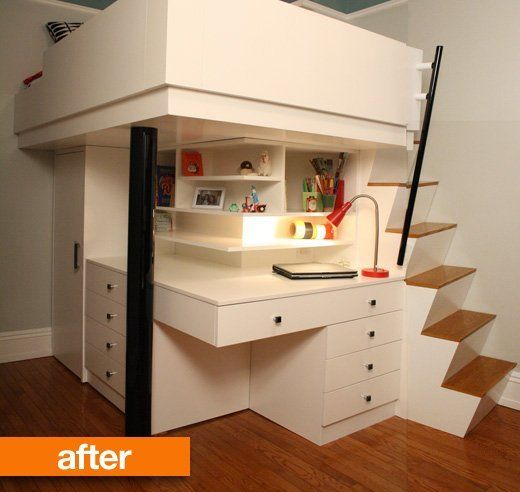 Before & After: In small rooms it makes sense to optimize your vertical space. Faced with the challenge of making better use of a tiny bedroom (7' x 12') in Manhattan, architect Benjamin Marcus conceived a lofted bed structure with stairs and desk and storage below. | Tiny Homes