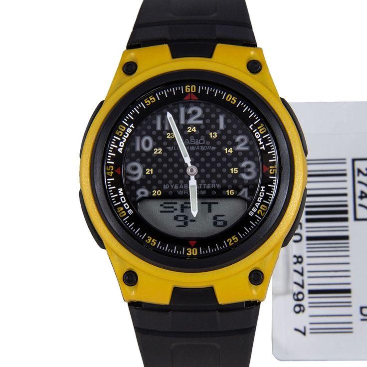 Casio Black Yellow Analog Digital Mens Watch Aw 80 9b Aw80 Watches For Men Casio Black N Yellow