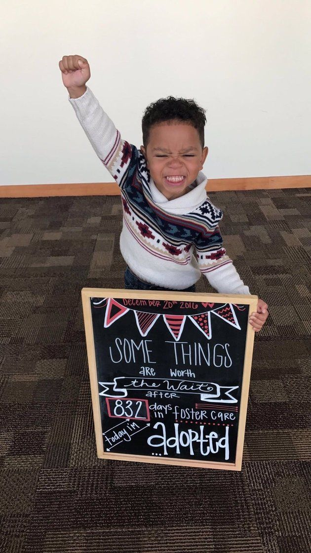 The internet can't get enough of this 3-year-old's adoption day.
