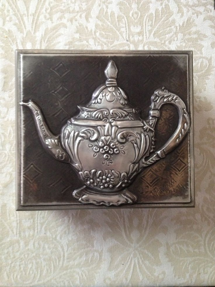 4 division tea box from Mimmic Gallery and Studio, with a beautiful tea pot design worked from pewter sheet on the lid. Mary Ann Lingenfelder, www.mimmic.co.za