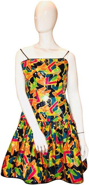 d47e8c96 Lillie Rubin Primary Colors Yellow Orange Black Pink 80's Nyc Street Pop  Art Sequined Spaghetti Strap Short Formal Dress Size 10 (M) - Tradesy