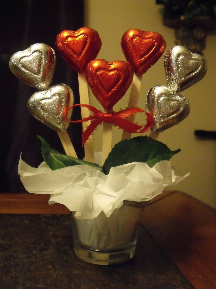 A chocolate hearts candy bouquet.