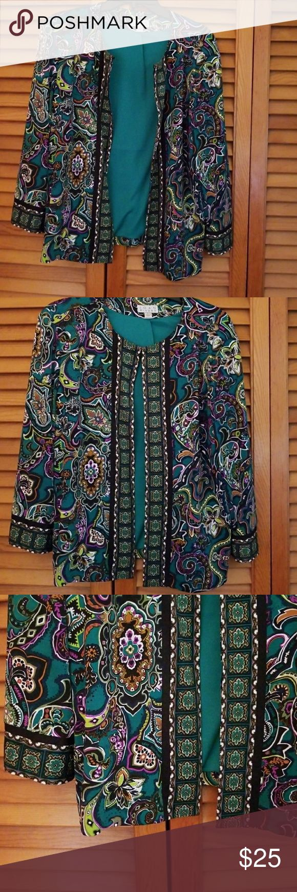 Never worn Joan Rivers Jacket Size L Beautiful  dressy jacket  Very soft Detailed information and measurements can be found on the QVC website under item # A255146 QVC has this on clearance for $29 Price firm unless bundle  Never Worn! Joan Rivers Jackets & Coats