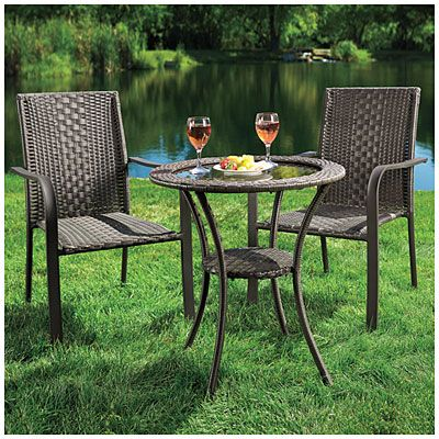 Wilson Fisher Resin Wicker 3 Piece High Back Bistro Set At Lots