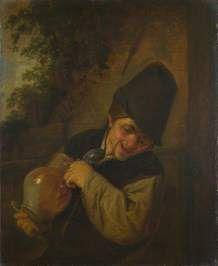 Un campesino con una jarra y una pipa
