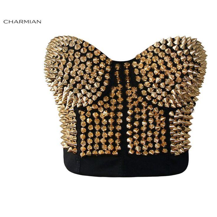 Chairman mujeres Sexy Punk Rivet Bra Top Llamativo de Oro Tachonado Danza Clubwear Cuerpo Fajas Bustier Cincher Burlesque Corset