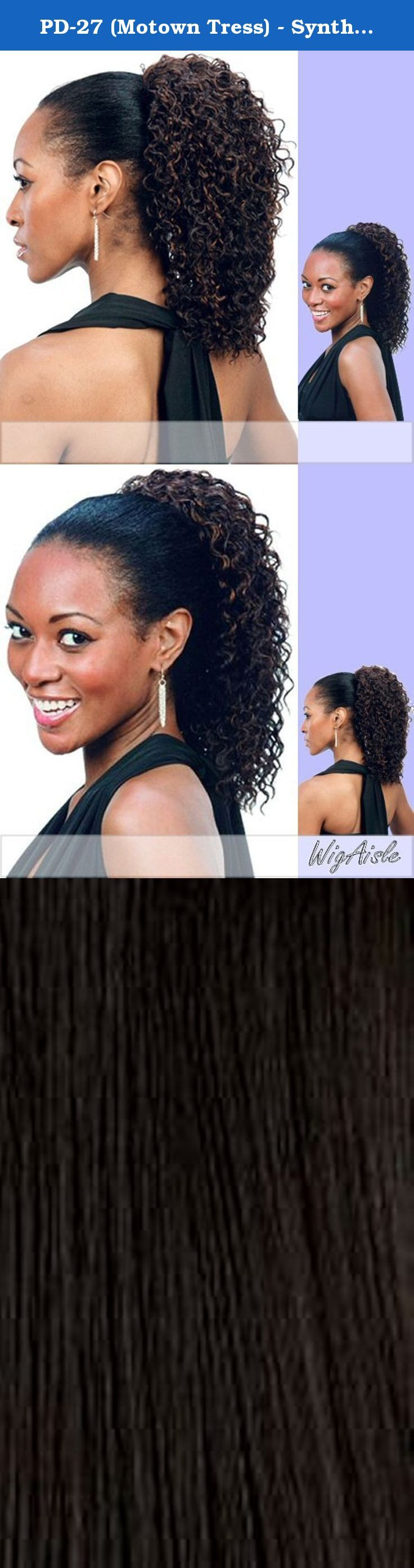 PD-27 (Motown Tress) - Synthetic Ponytail in 1. Color 1 is JET BLACK (Color shown is 1BF30) - DEEP WAVE LAYERED MID LONG.