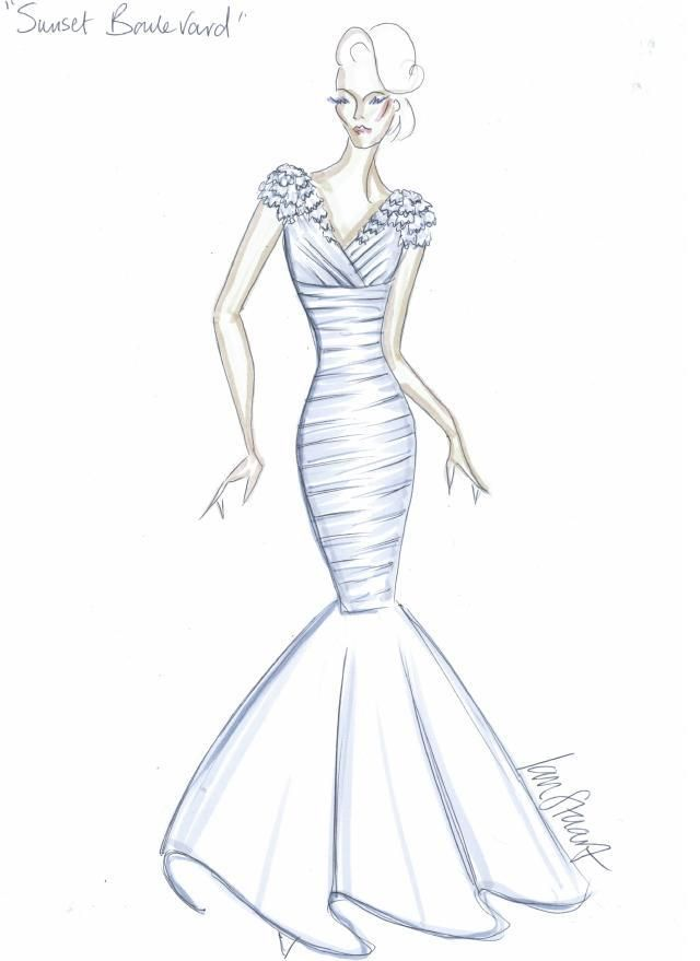 Ian stuart design drawing for wedding dress sunset for How to draw a wedding dress